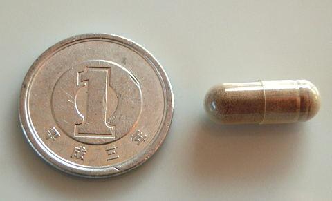 1円玉とtp200のカプセルの大きさを比較