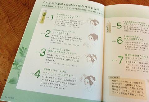 パンフレットにはすこやか地肌シャンプーの効果的な使い方が書いてありました。シア