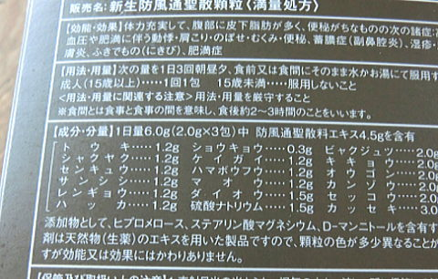 生漢煎 防風通聖散のパッケージに記載されている生薬成分と分量