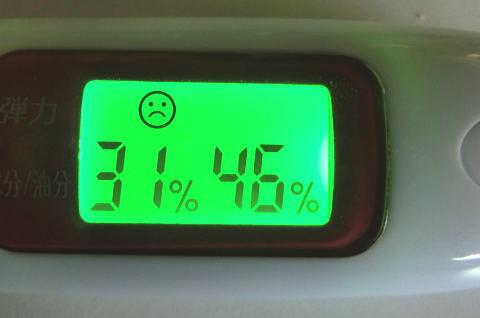 5日間飲み続けたら、水分量31・油分量46と肌の状態が少し改善しました!